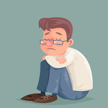 Businessman suffer emotion depression sadness melancholy stress cartoon character design vector illustration