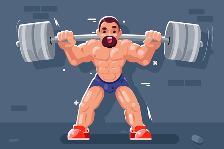 Weightlifter barbell muscles sport beautiful body flat design vector illustration