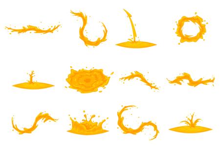 Oil flowing splash drop wave vortex whirlpool cartoon honey icon set isolated design vector illustration