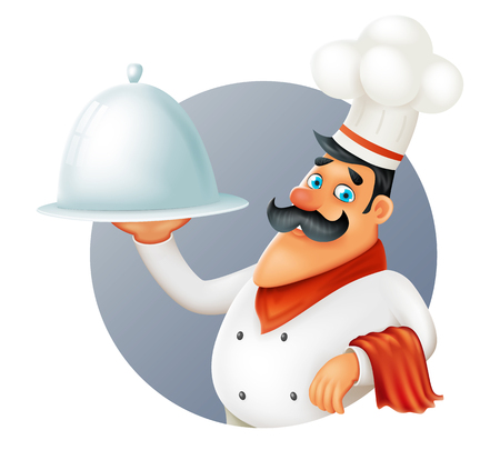 Restaurant chef cook serving food cartoon 3d mascot character design vector illustrator