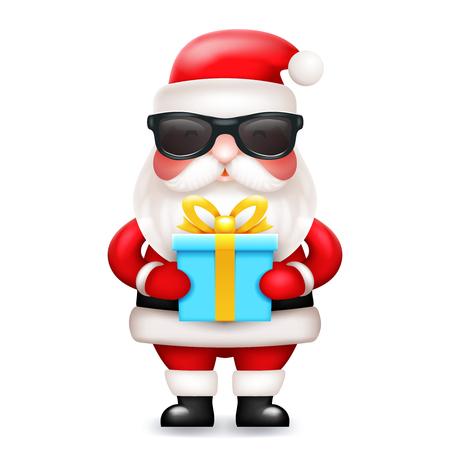 Geheime Weihnachtsmann-Geschenkbox vorhanden 3d niedliche Cartoon-Figur-Symbol isoliert Vektor-Illustration