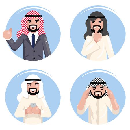 Arab businessman working decision making set traditional national muslim clothes flat design vector illustration