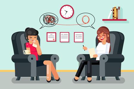 Ilustración de vector de diseño de personaje plano de paciente de consulta de psicólogo