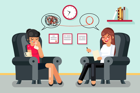 Psychologist consultation patient flat character design vector illustration Vettoriali