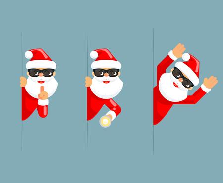 Secret santa claus flashlight peeking out corner surrender give up cartoon characters flat set design isolated vector illustration