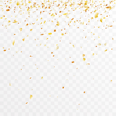 Golden foil confetti trimming pieces decoration party celebration design transparent template background vector illustration Vettoriali