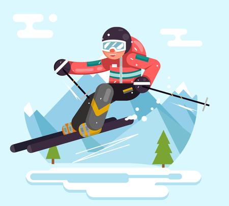Skier riding high speed mountain mountains winter vacation skiing flat design vector illustration Illustration