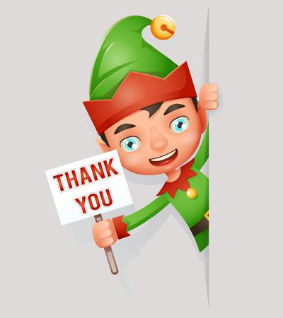 Thank you poster look out corner boy elf cute christmas santa claus helper cartoon character vector illustration