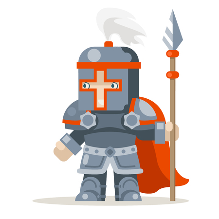 Guardian lance knight spearman fantasy medieval action RPG game character layered animation ready character vector illustration