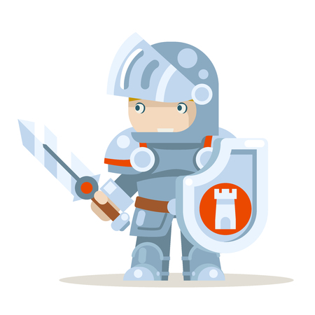 Knight warrior fantasy medieval action RPG game layered animation ready character vector illustration Vectores