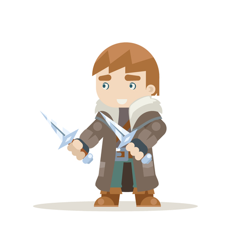 Rogue outlaw assassin thief burglar fantasy medieval action RPG game character layered animation ready character vector illustration Vektorové ilustrace
