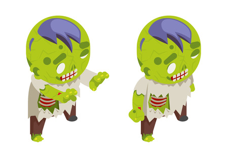 Isometric zombie boy costume halloween children masquerade party kid character flat design vector illustration