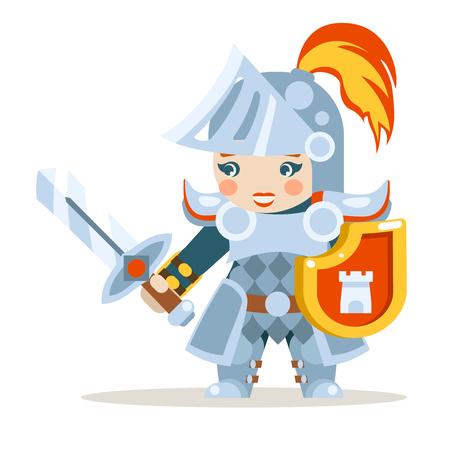 Medievale donna cavaliere donna guerriera ragazza fantasia azione RPG gioco animazione a strati pronto personaggio illustrazione vettoriale