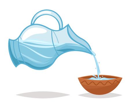 Beber agua verter jarra de vidrio cuenco icono de dibujos animados vid diseño ilustración vectorial Ilustración de vector