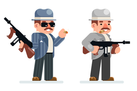 Gangster dangerous retro criminal submachine gun thug prohibition character mafia icon flat design vector illustration