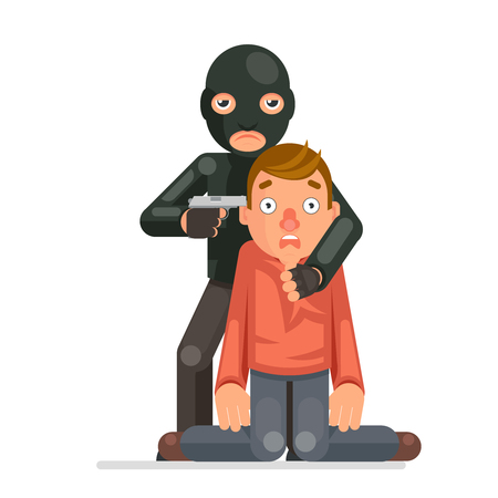 Terrorist hostage criminal thief gun character crime threat buyout request flat design vector illustration