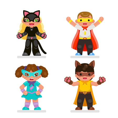 Cute kids super hero teens characters set flat design vector illustration