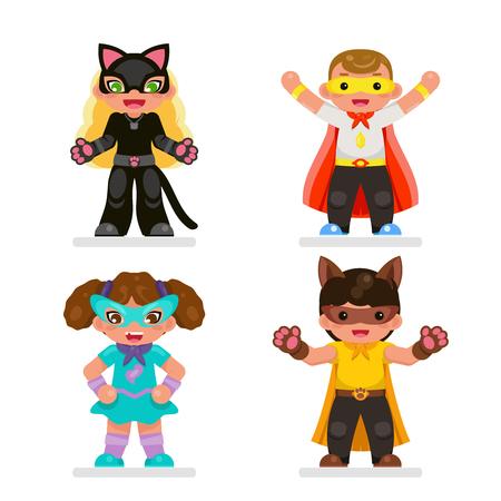Cute kids super hero teens characters set flat design vector illustration