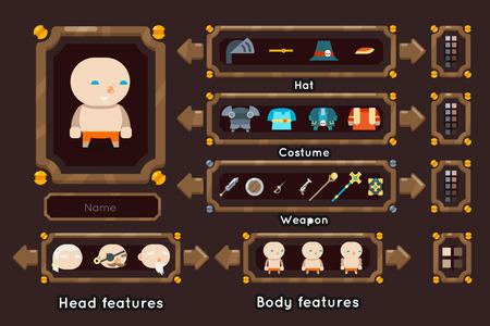 Fantasia gioco personaggio generazione interfaccia armi schermo concetto RPG avventuriero design piatto magico fata coda modello illustrazione vettoriale