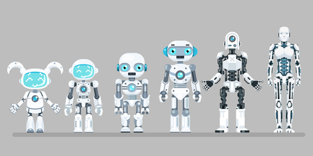 Robot android innovation technology science fiction future flat design icons set vector illustration Ilustração Vetorial