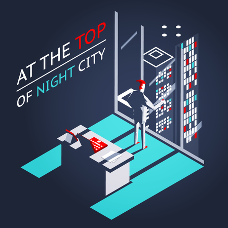Businessman top night city penthouse office workroom laptop documents isometric flat design concept vector illustration Illustration