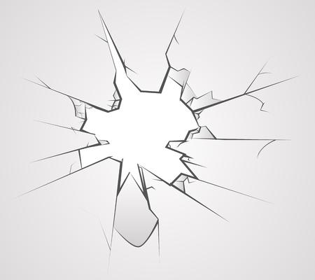 Broken glass hole cracks transperent background vector illustration Illustration