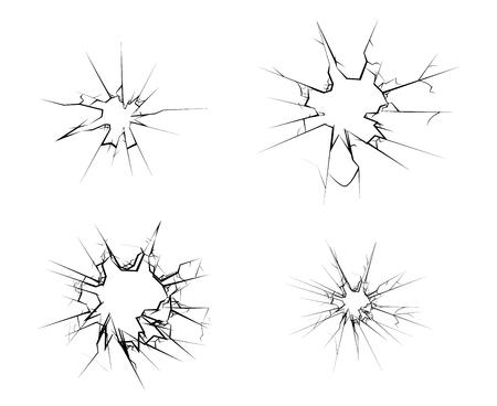 Gebroken glazen gat scheuren instellen geïsoleerde vectorillustratie Vector Illustratie