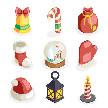 Christmas isometric 3d icons set flat cartoon design vector illustration