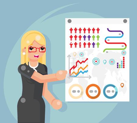 Business infographics presentation businesswoman female flat design character vector illustration
