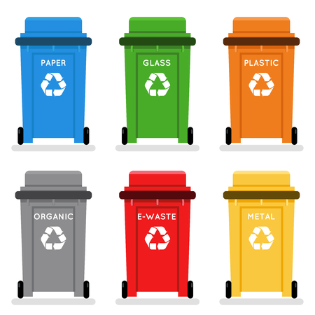 Garbage cans trash separation recycling isolated flat design icons set vector illustration Çizim