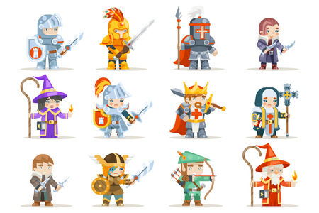 Fantasy set rpg game heroes character vector icons flat design vector illustration Ilustração