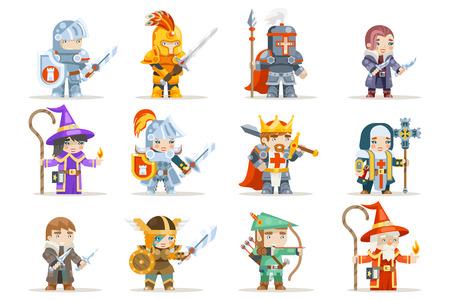 Fantasy set rpg gioco eroi personaggio icone vettoriali design piatto illustrazione vettoriale