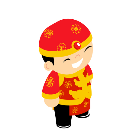 New year birthday traditional kid wear costume chinese boy isometric child character icon flat design vector illustration