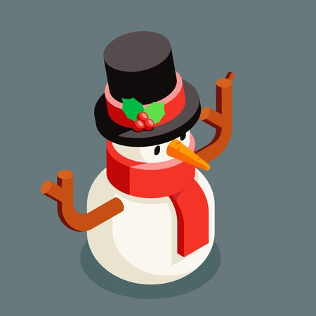 Isometric snowman christmas character winter new year 3d flat cartoon design vector illustration