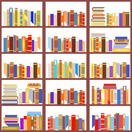 Seamless bookshelf isolated vintage pattern flat design vector illustration Stock Illustratie