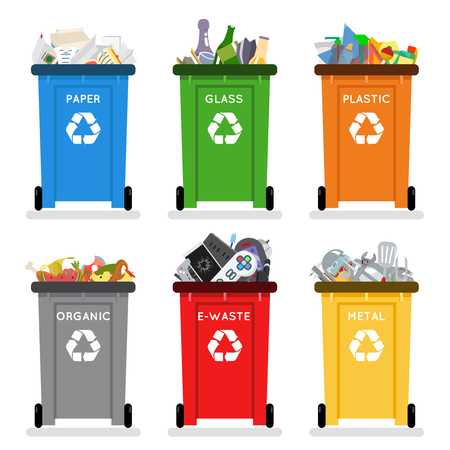 Recycling garbage cans trash separation isolated flat design icons set vector illustration