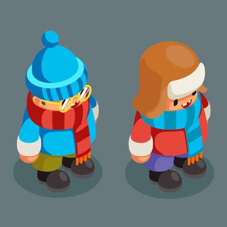 Children winter clothes isometric boy christmas character kid new year 3d flat cartoon design vector illustration