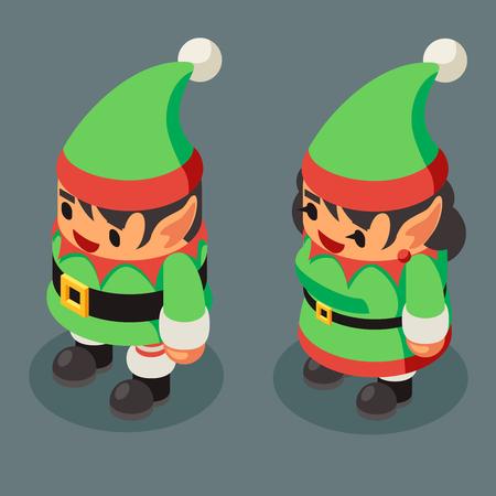 Christmas elf santa claus helper isometric male female character new year flat cartoon design vector illustration Stock Illustratie