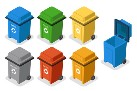 Isometric garbage cans trash separation recycling isolated 3d flat design icons set vector illustration