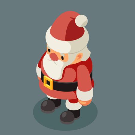 Santa Claus isometric old man christmas character grandfather new year flat 3d cartoon design vector illustration