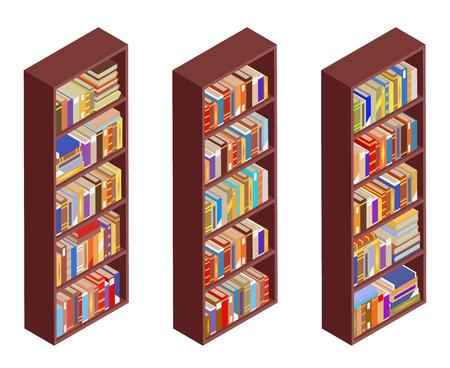 Isometric bookshelf vintage 3d isolated flat design vector illustration