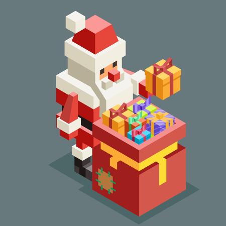 Bag gift santa claus grandfather isometric christmas character old man new year 3d flat cartoon design vector illustration