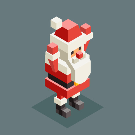 Hands up santa claus grandfather christmas isometric character old man new year 3d flat cartoon design vector illustration Stock Illustratie