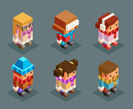 Lowpoly niños ropa de invierno isométrica niños niñas navidad niños personajes conjunto año nuevo 3d diseño de dibujos animados planos ilustración vectorial