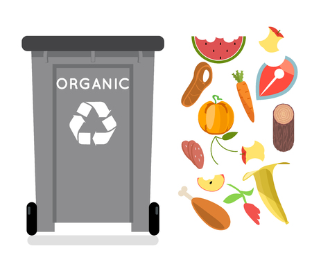 Organic recycling garbage can trash isolated flat design icon vector illustration