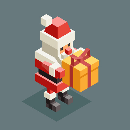 Presenting gift santa claus grandfather christmas character old man new year 3d isometric flat cartoon design vector illustration