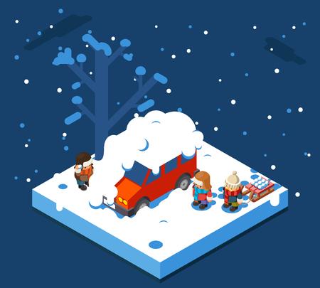 Isometric snowball winter boys walking snow sleigh background flat design vector illustration