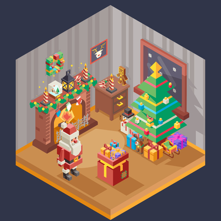 New year isometric room fireplace christmas tree santa claus gift bag box flat design template vector illustration Stock Illustratie