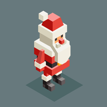 Winter santa claus grandfather christmas character old man new year 3d isometric flat cartoon design vector illustration Stock Illustratie