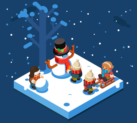 Winter games isometric kids making snowball snowman winter playing sleigh snow background flat design vector illustration